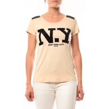 T-shirts manches courtes Dress Code T-Shirt Love Look NY 1660 Beige