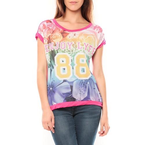 Vêtements Femme T-shirts manches courtes Tcqb T-shirt 88 Rose Rose