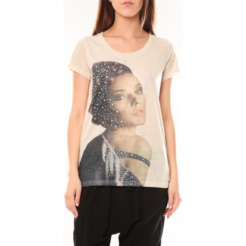 Vêtements Femme T-shirts manches courtes Tcqb Tee shirt Y-0008 Beige Beige
