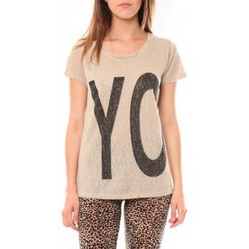 Vêtements Femme T-shirts manches courtes Tcqb Tee shirt SL1511 Beige Beige