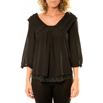 Vêtements Femme Chemises / Chemisiers Vision De Reve Vision de Rêve Chemisier Col Claudine IP11012 Noir Noir
