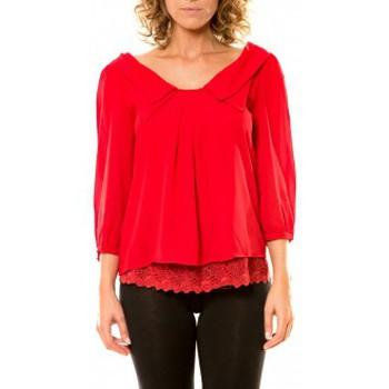 Vêtements Femme Chemises / Chemisiers Vision De Reve Vision de Rêve Chemisier Col Claudine IP11012 Rouge Rouge