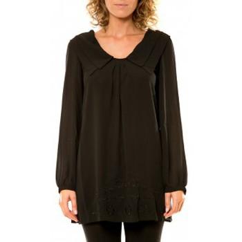 Vêtements Femme Chemises / Chemisiers Vision De Reve Vision de Rêve Chemisier Col Claudine IP11013 Noir Noir