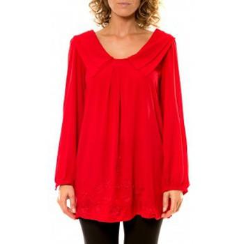 Vêtements Femme Chemises / Chemisiers Vision De Reve Vision de Rêve Chemisier Col Claudine IP11013 Rouge Rouge