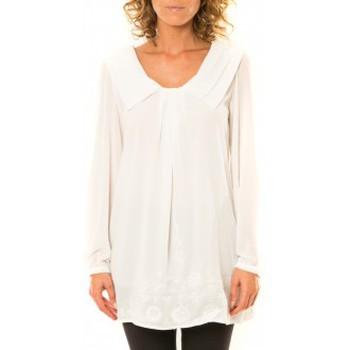 Vêtements Femme Chemises / Chemisiers Vision De Reve Vision de Rêve Chemisier Col Claudine IP11013 Blanc Blanc