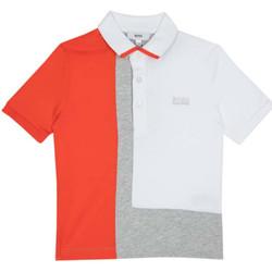 Vêtements Garçon Polos manches courtes HUGO Polo Hugo Boss - Ref. J25C06-10B Blanc