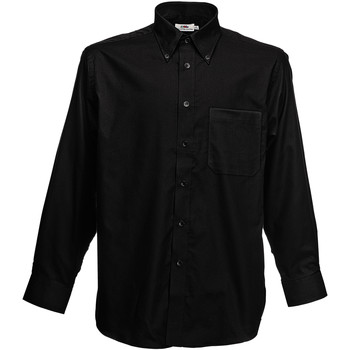 Vêtements Homme Chemises manches longues Fruit Of The Loom Oxford Noir