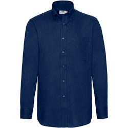 Vêtements Homme Chemises manches longues Fruit Of The Loom Oxford Bleu marine