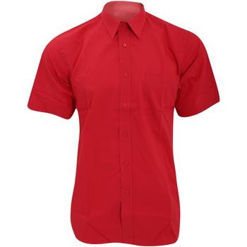 Vêtements Homme Chemises manches courtes Fruit Of The Loom Poplin Rouge