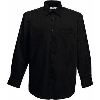 Vêtements Homme Chemises manches longues Fruit Of The Loom Poplin Noir
