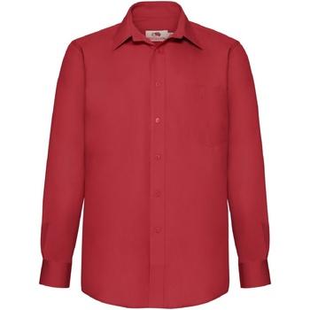 Vêtements Homme Chemises manches longues Fruit Of The Loom Poplin Rouge