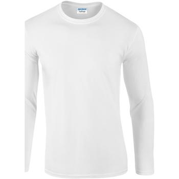 Vêtements Homme T-shirts manches longues Gildan Soft Style Blanc