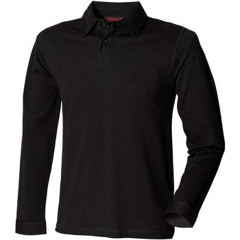 Vêtements Homme Polos manches longues Skinni Fit Stretch Noir