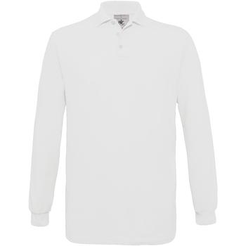 Vêtements Homme Polos manches longues B And C Safran Blanc