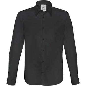 Vêtements Homme Chemises manches longues B And C Poplin Noir