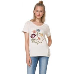 Vêtements Femme T-shirts manches courtes Desigual T-Shirt Petunia Tiza Blanc cassé 71T2WK4 1