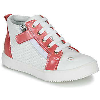 Chaussures Fille Baskets montantes GBB MIMOSA VTE BLANC-CORAIL DPF/DINNER