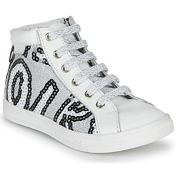 Chaussures Fille Baskets montantes GBB MARTA SVT BLANC-PAILLETTE ARGENT DPF/DOLBY