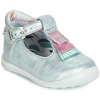 Chaussures Fille Ballerines / babies Catimini BIMA VTE BLEU ACIER-ARGENT DPF/GLUCK
