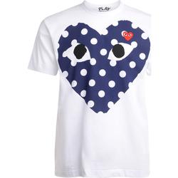 Vêtements Homme T-shirts manches courtes Comme Des Garcons T-Shirt  blanc avec un coeur bleu à pois Blanc