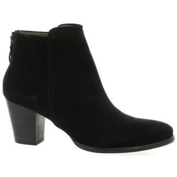 Chaussures Femme Bottines Minka Boots cuir velours Noir