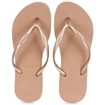 Chaussures Femme Tongs Havaianas SLIM Rose doré