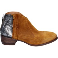 Chaussures Femme Low boots Moma bottines jaune daim argent cuir BT10 jaune