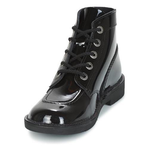 Kickers Vernis Col Boots Noir Femme Kick iuXTOkZlwP