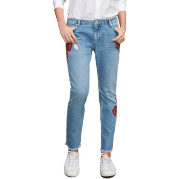 Vêtements Femme Jeans slim Reiko PRESTON DENIM EMBROIDERED Bleu