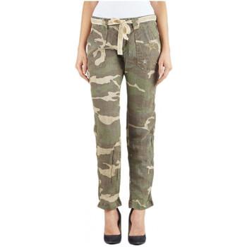 Vêtements Femme Pantalons cargo Le Temps des Cerises Pantalon en Lin Niky Camo (sp) Vert