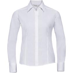Vêtements Femme Chemises / Chemisiers Russell Chemise à Manches Courtes manches longues en popeline BC1017 Blanc