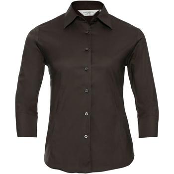 Vêtements Femme Chemises / Chemisiers Russell Collection Chemisier à manches 3/4 BC1030 Chocolat