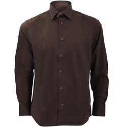 Vêtements Homme Chemises manches longues Russell Collection Chemise à manches longues BC1031 Chocolat
