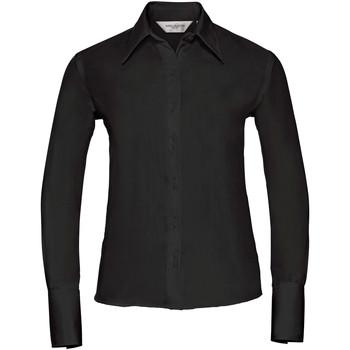 Vêtements Femme Chemises / Chemisiers Russell Collection Chemisier à manches longues sans repassage BC1034 Noir