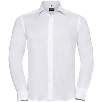 Vêtements Homme Chemises manches longues Russell - Chemise à manches longues sans repassage - Homme Blanc