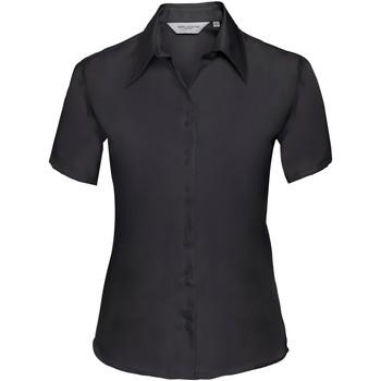 Vêtements Femme Chemises / Chemisiers Russell Collection Chemisier à manches courtes sans repassage BC1036 Noir