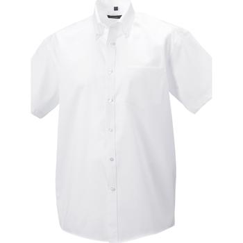 Vêtements Homme Chemises manches longues Russell - Chemise à manches courtes sans repassage - Homme Blanc