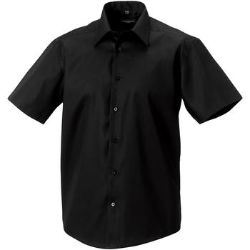 Vêtements Homme Chemises manches courtes Russell - Chemise à manches courtes sans repassage - Homme Noir