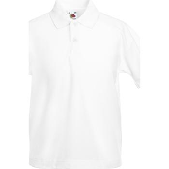 Vêtements Enfant Polos manches courtes Fruit Of The Loom Pique Blanc