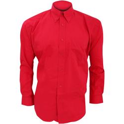 Vêtements Homme Chemises manches longues Kustom Kit Oxford Rouge