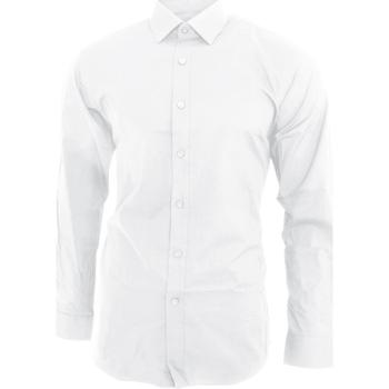 Vêtements Homme Chemises manches longues Brook Taverner BK130 Blanc