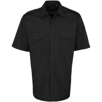 Vêtements Homme Chemises manches courtes Premier PR212 Noir