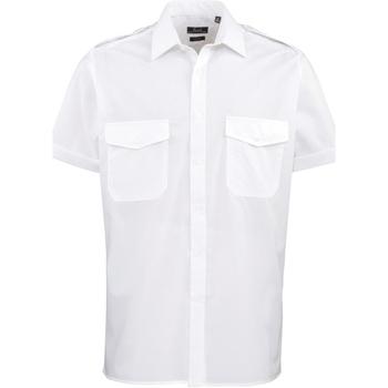 Vêtements Homme Chemises manches courtes Premier PR212 Blanc