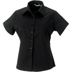 Vêtements Femme Chemises / Chemisiers Russell Collection Chemisier classique 100% coton à manches courtes Noir