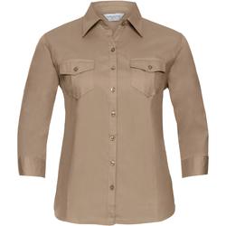 Vêtements Femme Chemises / Chemisiers Russell Collection - Chemisier 100% coton à manches longues retroussabl Kaki