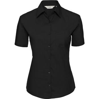Vêtements Femme Chemises / Chemisiers Russell Collection Chemisier en popeline 100% coton à manches courtes Noir