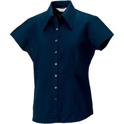 Vêtements Femme Chemises / Chemisiers Russell Collection Chemisier ajusté à manches courtes RW3271 Bleu marine