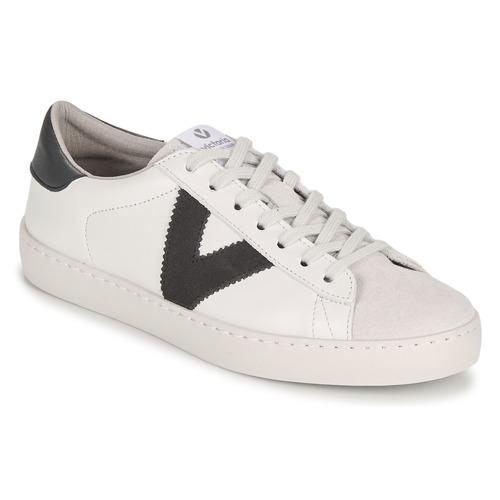 Victoria Berlin Piel Contraste Blanc / Gris - Livraison Gratuite- Chaussures Baskets Basses Homme 7560