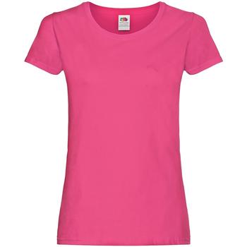 Vêtements Femme T-shirts manches courtes Fruit Of The Loom Original Fuchsia