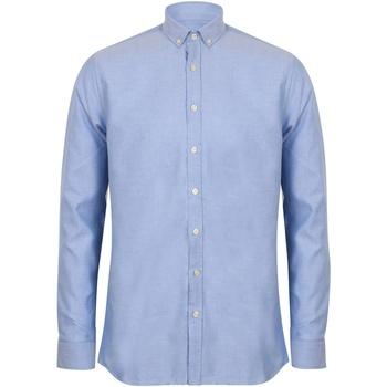 Vêtements Homme Chemises manches longues Henbury Oxford Bleu